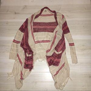Billabong cream red fringe cardigan